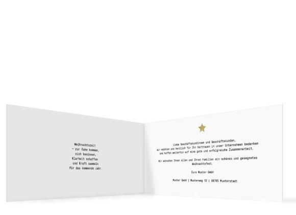 Firmen-Weihnachtskarte Copper in gold, Innenansicht