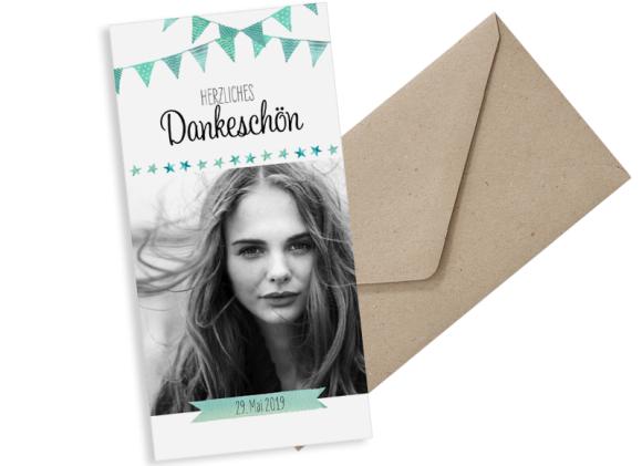 Danksagung zur Konfirmation (Postkarte DL hochformat mit Foto), Motiv: Stimmung, mit Briefhülle, Farbvariante: gruen