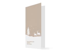Firmen-Weihnachtskarte Winterlandschaft (Klappkarte) beige