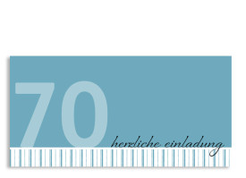 Einladung Stripes 2 zum 70. Geburtstag (Postkarte, ohne Foto) Blau