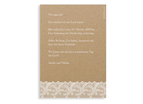 Save-the-Date (Postkarte A6), Motiv: Gibraltar, Rückseite, Farbvariante: weiss