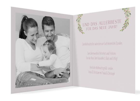 Weihnachtskarte (Klappkarte, Quad, ein Foto), Motiv: Weihnachtsmistel, Innenansicht, Farbvariante: altrosa