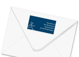 Absender-Adressetiketten zur Hochzeit Bern Blau