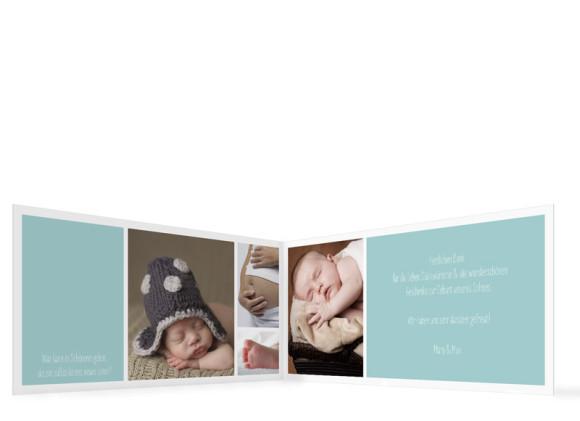 Babykarte (Klappkarte DIN Lang), Motiv: Efie/Eddy, Innenansicht, Farbversion: eisblau