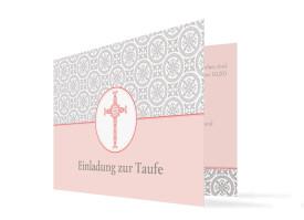 Taufkarte Aurelia/Aurelius (Klappkarte mit Foto) Apricot