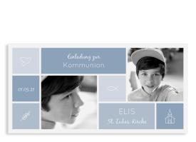 """Einladung zur Kommunion """"Bedeutung"""" (Karte mit Fotos) dunkelblau"""