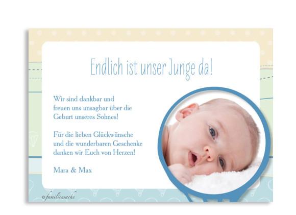 Geburtskarten Gwen/Gabriel, Rückseite der Farbversion: blau