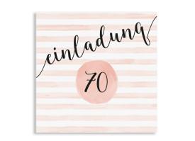Einladungskarte 70. Geburtstag Dots 'n Stripes Apricot