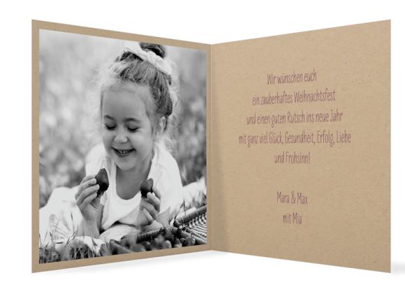 Klappkarte Weihnachtskarte, Motiv: Sketchy, Innenansicht, Farbvariante: aubergine