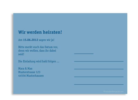 Rückseite, Einladungs-Postkarte zur Hochzeit, Motiv Klassik, Farbversion: blau