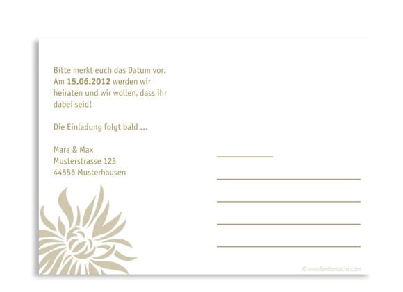 Rückseite, Einladungs-Postkarte zur Hochzeit, Motiv Florenz, Farbversion: beige