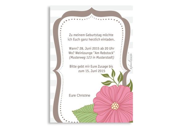 Geburtstagseinladungen Honolulu, Rückseite der Farbversion: braun