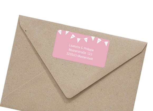 Adressetiketten (66x35 mm), Motiv: Malmö, mit Briefhülle, Farbvariante: rosa