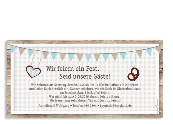 Hochzeitseinladungen München, Rückseite in taupe/eisblau