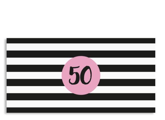 Einladungskarte Lucky Stripes zum 50. Geburtstag