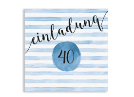 Einladung 40. Geburtstag Dots 'n Stripes Dunkelblau