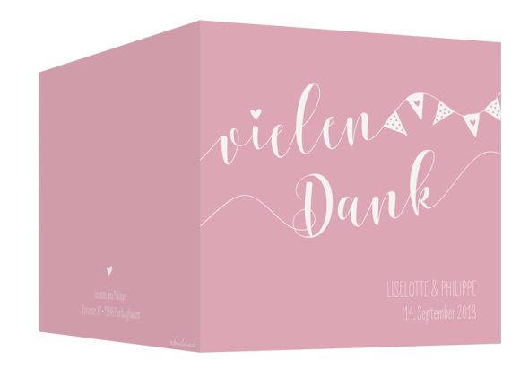 Hochzeitsdanksagung (quad. Klappkarte - 300 x 150 mm), Motiv: Malmö, Aussenansicht, Farbvariante: rosa