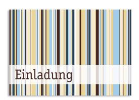 Geburtstagseinladung Stripes (Postkarte A6) Braun/Blau