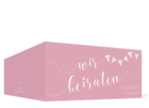 Hochzeitseinladung Malmö, Klappkarte DL quer, Außenansicht in rosa