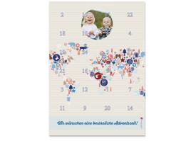 Adventskalender Weltkarte (DIN A4) Blau