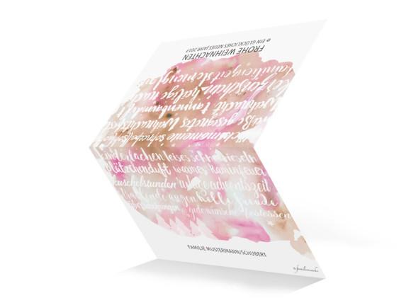 Karte zu Weihnachten Skript in beige/rosa, außen