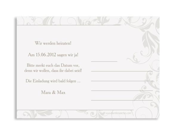 Rückseite, Einladungs-Postkarte zur Hochzeit, Motiv Dubai, Farbversion: beige