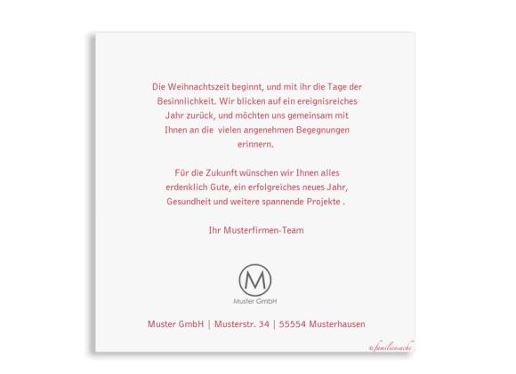 Postkarte quadratisch zu Weihnachten für Firmen, Motiv: Festtage, Rückseite, Farbvariante: beerenrot