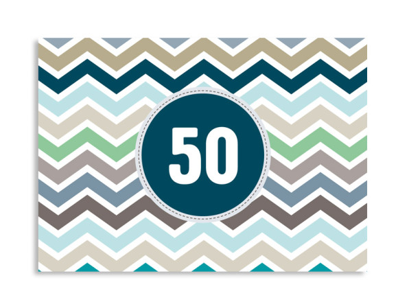Einladungskarte ZigZag zum 50. Geburtstag
