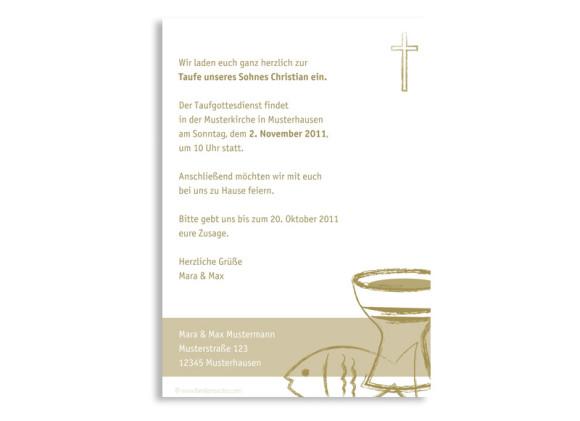Rückseite, Postkarte zur Taufe, Motiv Chrissi/Christian, Farbversion: beige