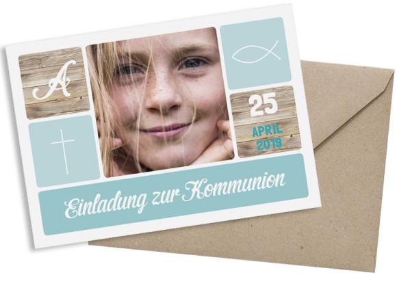Kommunionseinladung (Postkarte mit Foto), Motiv: Lucia / Luca, mit Briefhülle, Farbvariante: eisblau