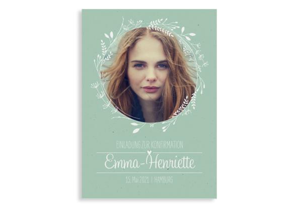 """Konfirmationseinladung """"Henriette/Henry"""" (Postkarte Hochformat mit Foto)"""