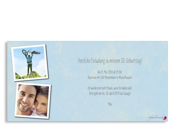 Einladungspostkarte Vintage Star, Format: DIN Lang, Rückseite, Farbvariante: blau/grün