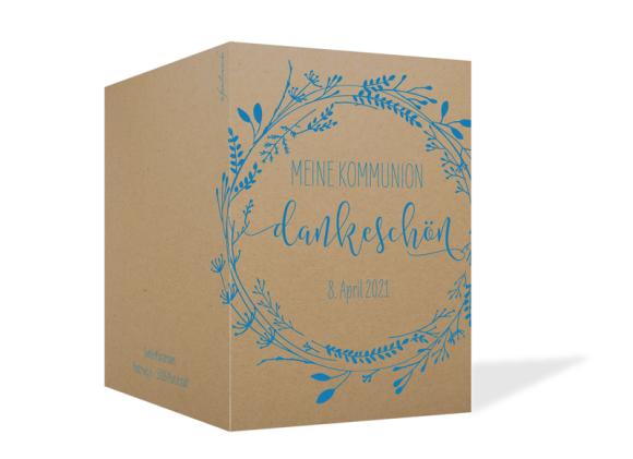 Danksagung zur Kommunion (Klappkarte A6 mit 1 Foto), Motiv: Blumenkranz Natural, Aussenansicht, Farbvariante: blau