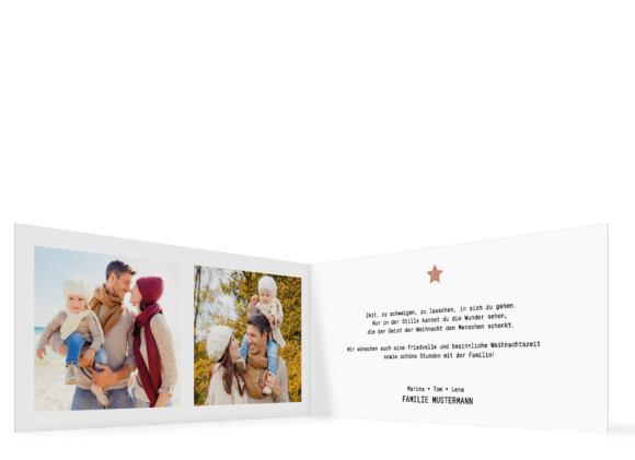 Weihanchtskarten Copper mit Fotos, Roségoldanmutung Innenseiten