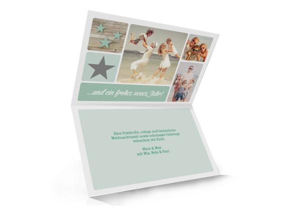 Weihnachtsgrußkarte (Klappkarte, A6), Innenansicht, Motiv: Lucia, Farbversion: pistazie