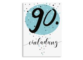 Einladung Zum 90. Geburtstag Konfetti Aqua