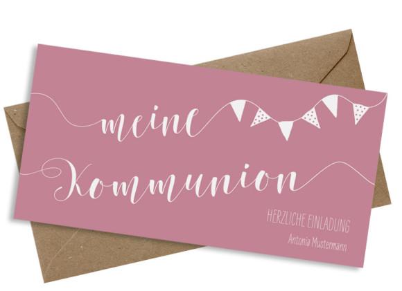 Einladungskarte zur Kommunion (Postkarte), Motiv: Frühlingsfrisch, mit Briefhülle, Farbvariante: altrosa