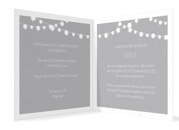Hochzeitseinladung Lichterkette, quadr. Klappkarte, Innenansicht in grau