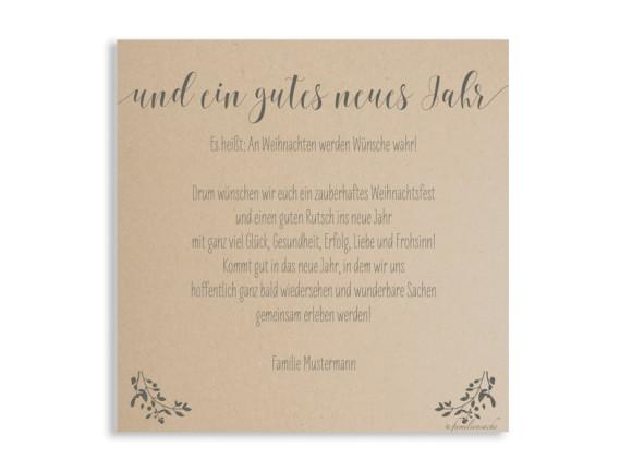 Weihnachtskarte Mistelkranz, quadratische Postkarte, Rückseite in grau
