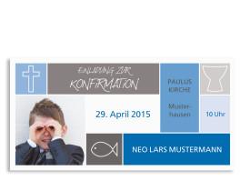 Konfirmationseinladungen Nora/Neo (Postkarte) Blau