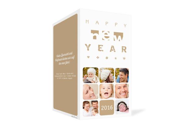 Neujahrskarte Facettenreich, Außenansicht der Farbversion: beige