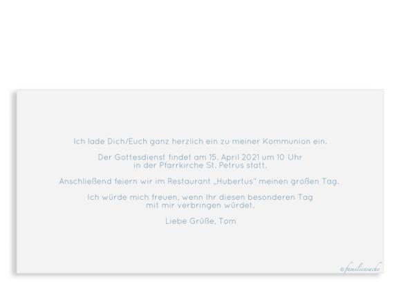 Einladungskarte als Postkarte DIN Lang mit vier Fotos, Motiv: Ziel, Rückseite, Farbvariante: blau-türkis