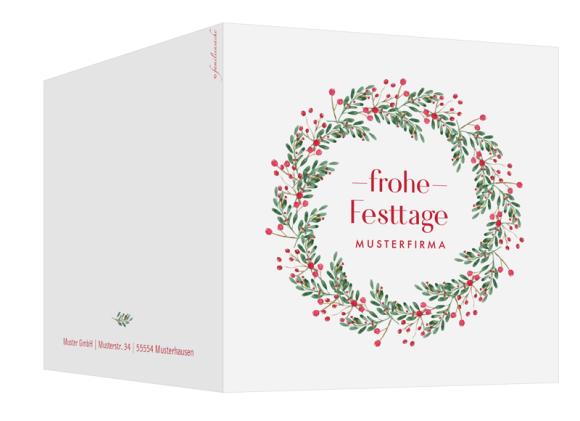 quadratische Weihnachtskarte zum Aufklappen (300 x 150 mm), Motiv: Festtage, Aussenansicht, Farbvariante: beerenrot