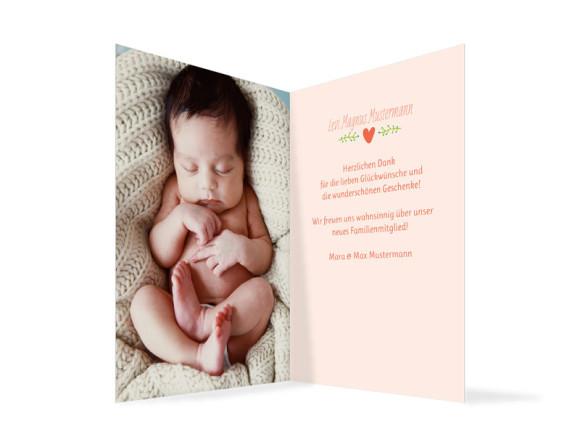 Geburtskarte (Klappkarte, hochkant), Motiv: Laura/Levi, Innenansicht, Farbversion: apricot