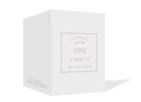 Babykarte (Klappkarte A6 mit Foto), Motiv: Carmen/Campino, Aussenansicht, Farbvariante: altrosa