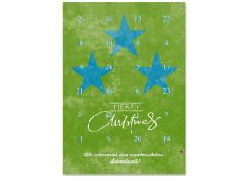 Adventskalender Vintage Stars (DIN A4) Blau/Grün
