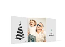 Weihnachtskarte Origami Eisblau