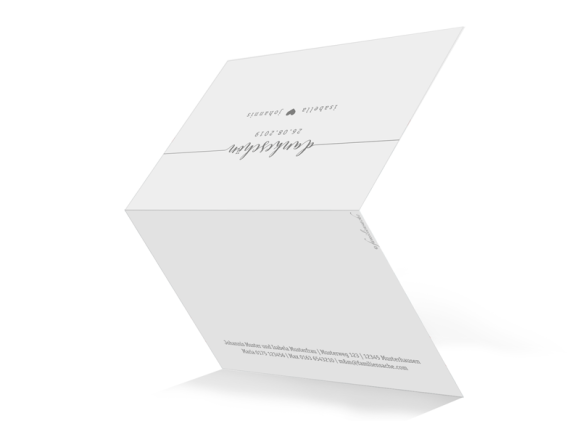 Danksagung Hochzeit (Klappkarte A6 - unten offen), Motiv: Gent Pure, Aussenansicht, Farbvariante: grau