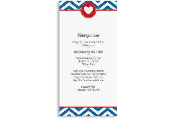 Hochzeitsmenükarten Hamptons Heart, Rückseite der Farbversion: blau/rot