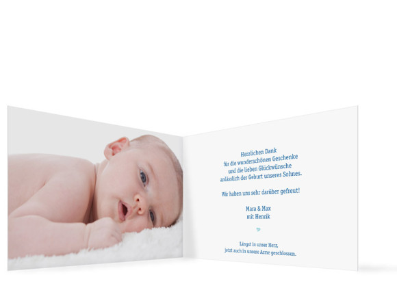 Geburtskarten, Motiv Hanna/Henrik ohne Fahne, Innenansicht, Farbversion: blau